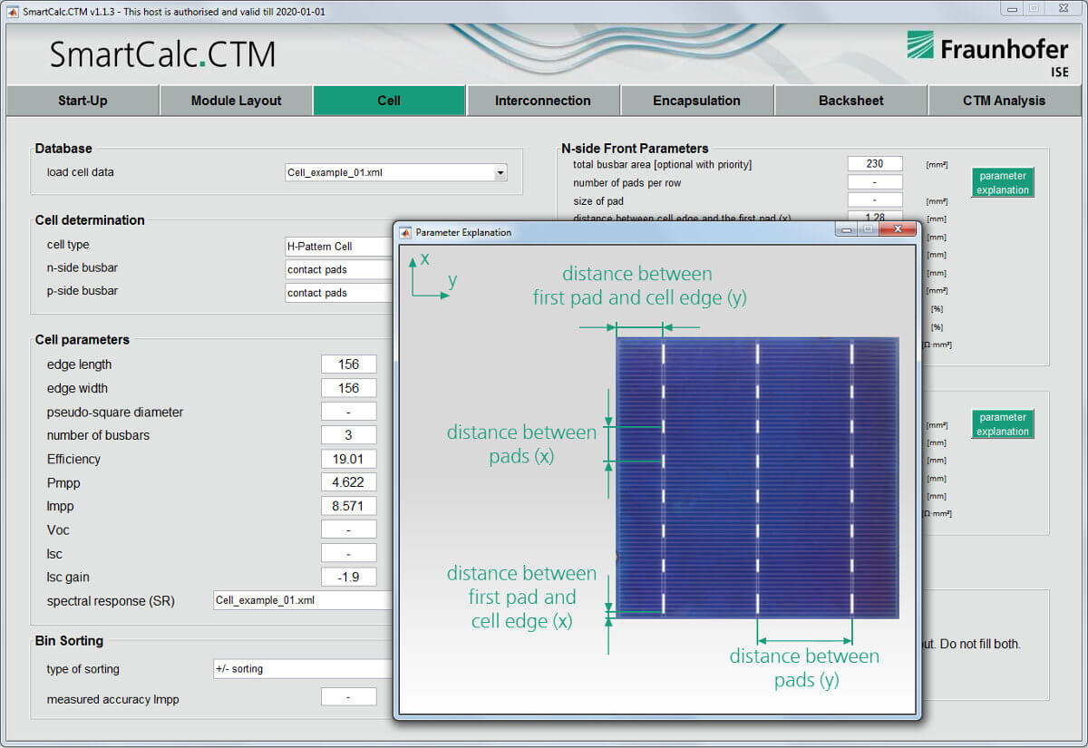 SmartCalc.CTM cell-to-module screenshot cell setup