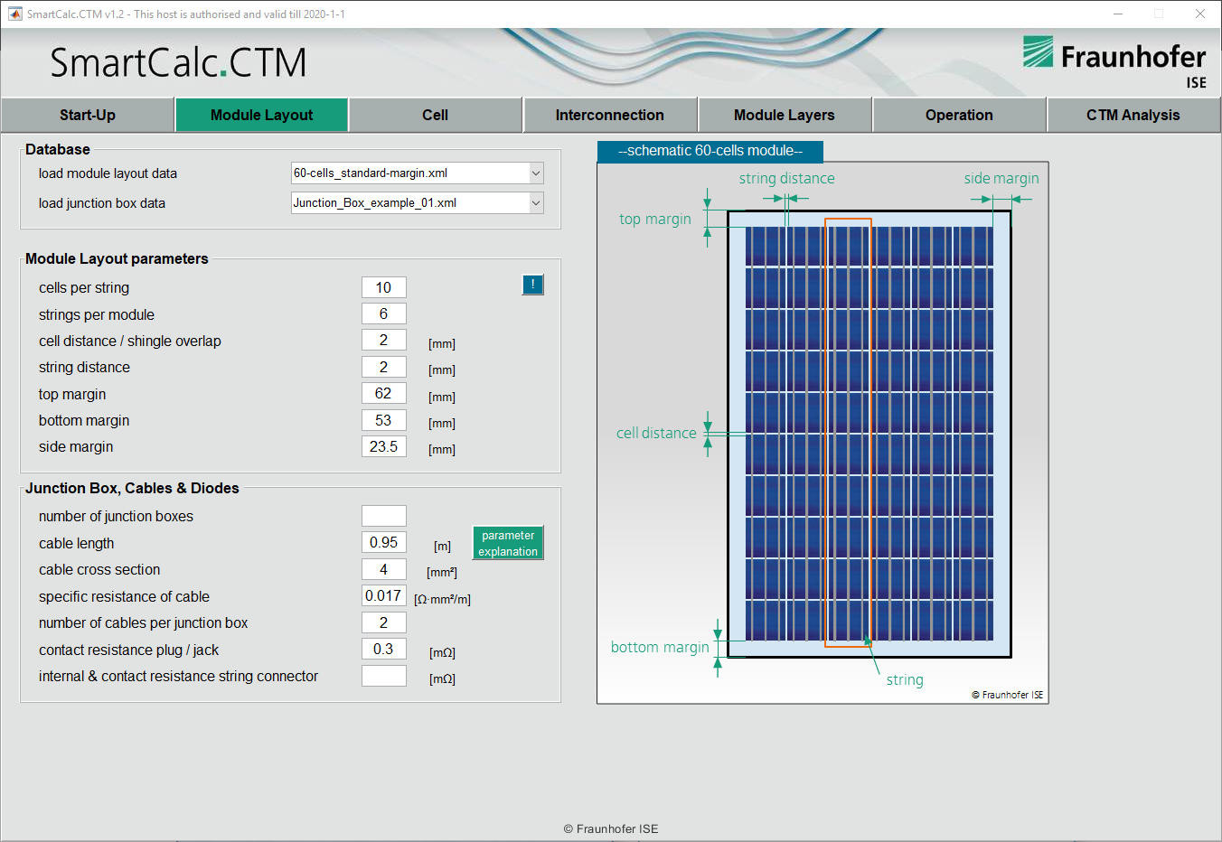SmartCalc.CTM cell-to-module screenshot layout setup